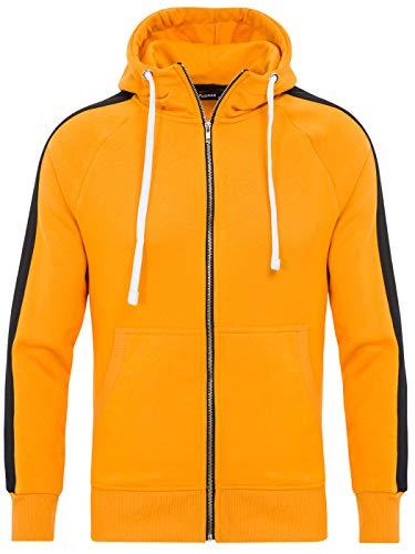 PITTMAN Retro Jungen Sweatjacke Zipper Herren Hoodie Sweatshirt Jacken Männer Sweater Zip Pullover Kapapuzenjacke, Gelb/Schwarz (0516), S