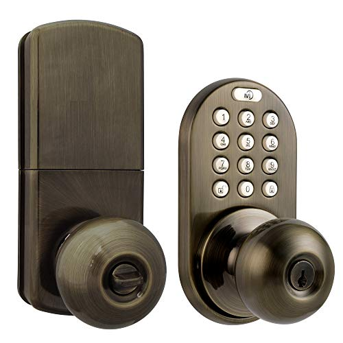 MiLocks DKK-02AQ Electronic Touchpad Entry Keyless Door Lock, Antique Brass