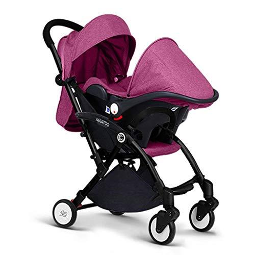 Opvouwbare Baby Kinderwagens Reizen Baby Kinderwagen Drie-in-een Mand Auto Stoel Licht Vouwwagen Vijfpuntsgordel met Opslag Mand Baby Vervoer Lichtgewicht Ontwerp