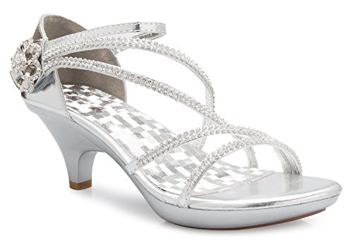 Olivia K Women's Open Toe Strappy Rhinestone Dress Sandal Low Heel Wedding Shoes Silver