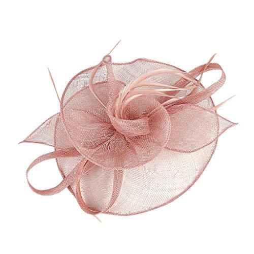 Morran - Pamela para Mujer Plumas Tocados Sombrero De Copa Flor De Malla De Un Cóctel Venda del Partid Derby Iglesia Banquete Fascinator Sombrero