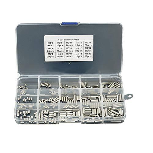 BOZONLI 300 Stück Zylinderstifte Edelstahl Zylinderstift Paßstifte M2 M3 M4, Bodenträger Regalbodenhalter für Regal Stifte, Bolzen, Dübel für Einlegeboden