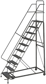 Tri-Arc KDHD110242 10-Step Heavy-Duty Steel Rolling Industrial & Warehouse Ladder with Grip Strut Tread