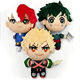 3pc 6.29IN Anime My Hero Academia Izuku Midoriya Katsuki Bakugou Shouto Todoroki Plush Pendant Toy Soft Stuffed Doll Gift ,Kids' Plush Toys Birthday Gifts