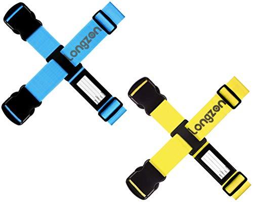 longzon [4 Stück] Koffergurt Kofferband Leuchtend Gepäckgurt Einstellbare Kofferband Gepäckband mit 2 Stück Adressschild zum sicheren Verschließen der Koffers auf Reisen(Blau und Gelb)