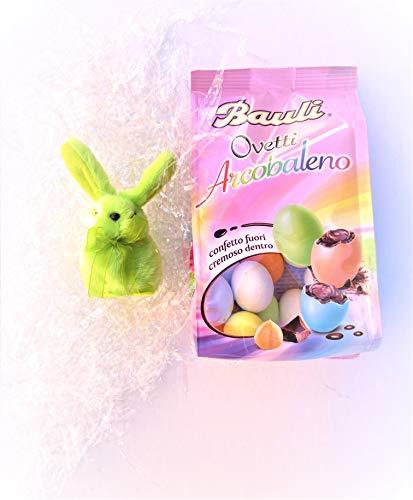 Ovetti Arcobaleno 180g + Mini Coniglietto Color Verde - Regalo Mamma - Regalo Papà- Bauli