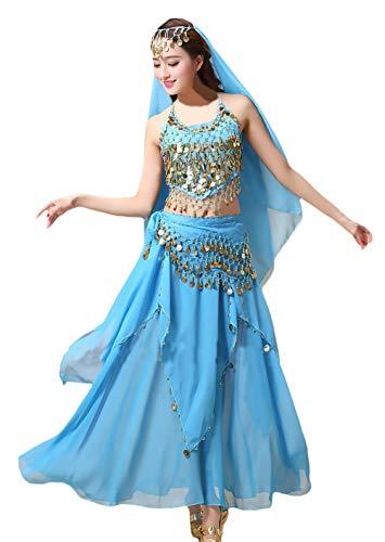 Dames feestelijke elegante Performance-kleding Indisch kostuum buikdans uni-kleuren houder-aanzet Vacation geschenken Crop Top/Rock/gezichtssluier hoofdeinde / halsketting 4 stuks set