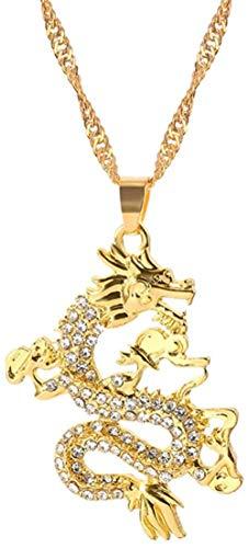 Zaaqio CZ Drago Collares Pendientes para mí Collares de Color Dorado Joyas de circonita cúbica Adornos de Mascota Regalos de la Suerte