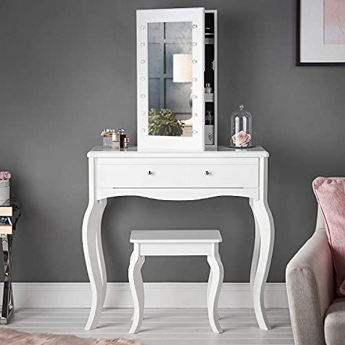 Sorrento - Tavolino da toeletta con cassetto e specchiera da tavolo con luci a LED, colore: bianco