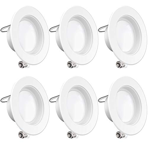 Sunco Lighting 6 Pack 4 Inch LED Recessed Downlight, Baffle Trim, Dimmable, 11W=60W, 2700K Soft White, 660 LM, Damp Rated, Simple Retrofit Installation - UL + Energy Star