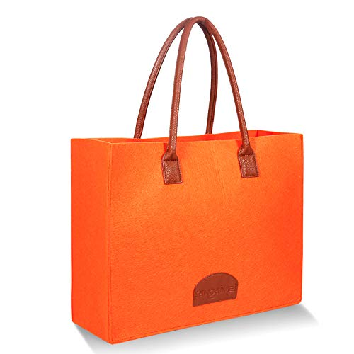 SaNgaiMEi Grocery Bags Reusable Eco Shopping Bags Large Made by Felt Fabric Produce Bags Stylish Travel Tote Bag(Orange)