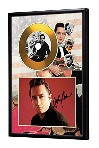 SH Range Johnny Cash Framed CD Goldene Schallplatte & Guitar Picks Display