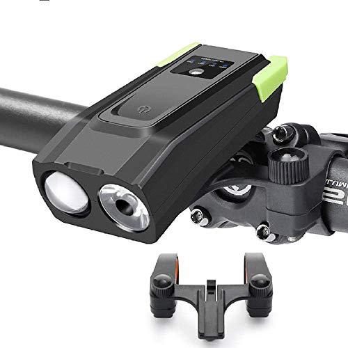 RVTYR Fahrrad-Licht Smart-Induktions-Fahrradbeleuchtung 2 Halter Halterung gebührenpflichtiges wasserdicht Fahrrad-vorderes Licht LED-Lampen-Fahrrad-Licht mit Horn stecklampe Fahrrad (Color : Black)