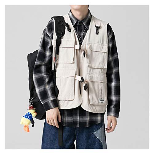 DUOER home Chaleco de pesca multifunción para hombre, multi-bolsillo, sin mangas, color blanco, talla 4XL