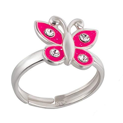 FIVE-D Damen- und Kinder Ring Schmetterling mit Kristall Grösse einstellbar aus 925 Sterling Silber im Schmucketui (Pink)