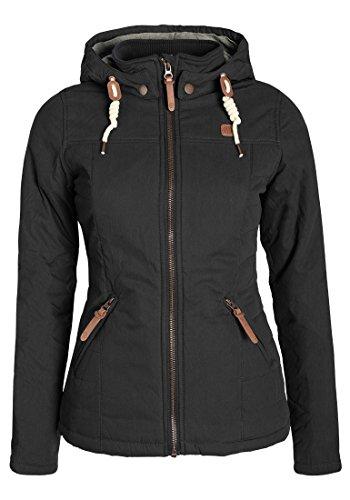 DESIRES Lewy Damen Übergangsjacke Steppjacke leichte Jacke gefüttert mit Kapuze und Stehkragen, Größe:S, Farbe:Black (9000)