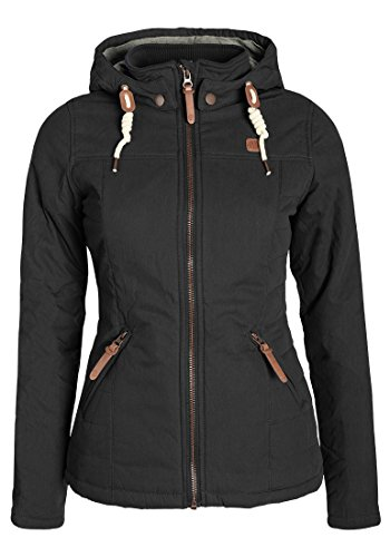 DESIRES Lewy Damen Übergangsjacke Steppjacke leichte Jacke gefüttert mit Kapuze und Stehkragen, Größe:M, Farbe:Black (9000)