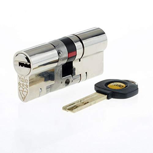 Yale - Cerradura europea de bombín cilíndrico para puerta de alta seguridad, anti rotura y anti golpes, níquel 35 35, uPVC, platino, 3 estrellas, 35 (int.) x 35 (ext.) TS2007:2014