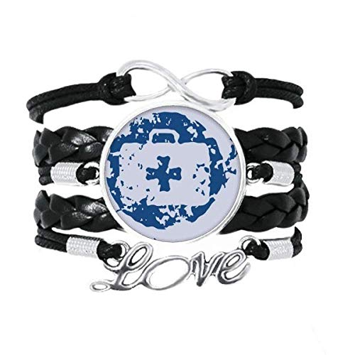 DIYthinker Azul Kit de Primeros Auxilios de diseño ilustración Patron Ronda Pulsera de Amor Adorno de Cuero Torcido Hilo de muñeca