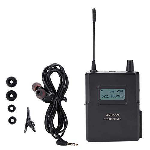Socobeta Sistema de Monitor Interno estéreo inalámbrico Receptor de Monitor de Escenario con Larga Distancia de Funcionamiento, Receptor de Sonido nítido de 670-680MHz, Antena de Alta sensibilidad