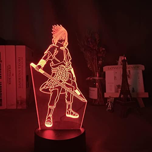 Naruto Sasuke Night Light Illusion 3D DIRIGIÓ Lámpara De Mesa para Dormitorio Decoración Mood Sleep Light Boys Fiesta Regalo De Cumpleaños para Juguetes para Niños para Adolescentes