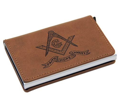 Quality PU Leather RFID Card Holder Wallet with Masonic Symbol