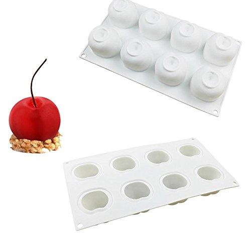 Moldes de repostería DIY silicona molde 8Rejilla cereza, molde para horno, molde para tarta, pastel molde silicona de cocinado, cereza espuma francesa para caramelos, chupete, bombones, velas, gelées