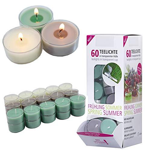 Smart-Planet® Kerzen Ambiente - 60 Stück Duft Teelichter Teelicht Set im Spender Harmony - transparente Hülle - 4 Stunden Lange Brenndauer