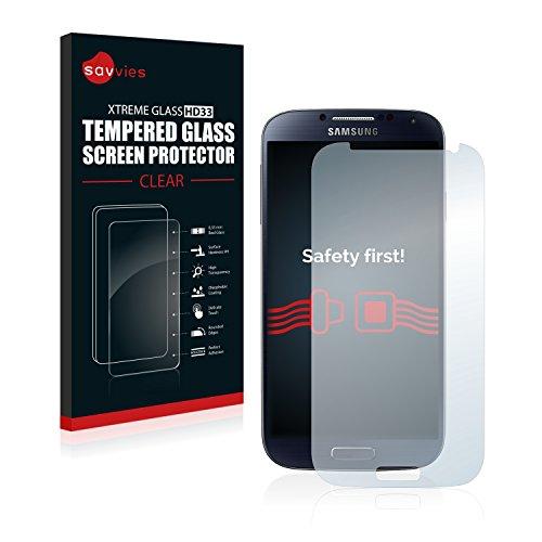 Savvies - Vetro temperato compatibile con Samsung Galaxy S4, in vero vetro, durezza 9H, anti-impronte