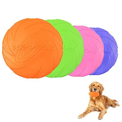 WENYECHEN Dog Frisbee Disc Hundefrisbee für Land und Wasser Weiche Hunde Frisbee für Hundetraining Werfen Fangen Spielen 4 Stück Hundespielzeug Frisbee Zwei Größen von Gummi Frisbee
