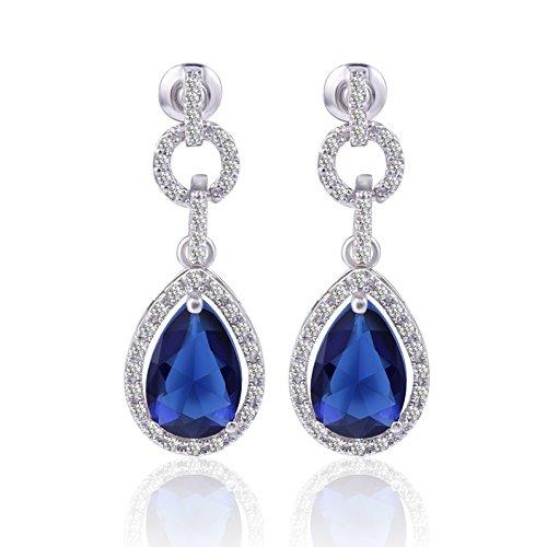Gulicx, orecchini a goccia con zirconi cubici di colore blu zaffiro, placcati in oro bianco, orecchini pendenti