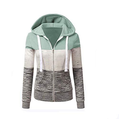 Newbestyle Jacke Damen Kapuzenpullover Strickjacke Pullover Sweatshirt Hoodies Kontrastfarbe Pulli Hellgrün Large
