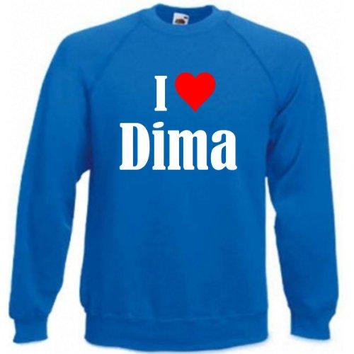 Reifen-Markt Sweatshirt I Love Dima Größe 2XL Farbe Blau Druck Weiss