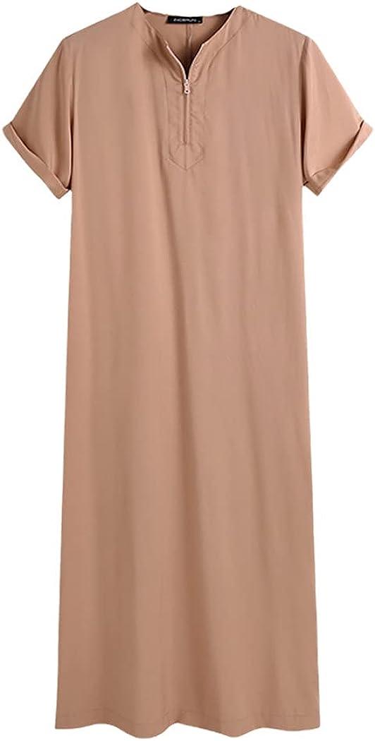 KEHAIEN Men Muslim Kaftan Short Sleeve Solid O Neck Jubba Thobe Abaya Dubai Saudi Arabia Islamic Robes