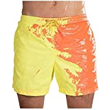 Mens Summer Short Swim Trunks - MorwebVeo Temperature-Sensitive Color-Changing Swimsuits Swimming Board Shorts for Men Bathing Suits Beachwear Yellow