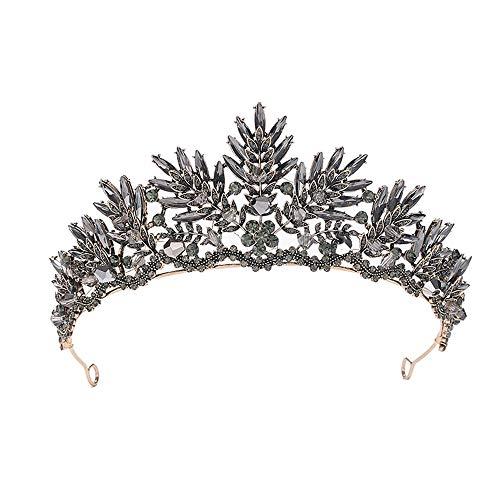 Sunshinesmile Bride Black Crystal Beads Bridal Tiaras Rhinestone Diadem Pageant Crown for Brides Headbands Wedding Hair Accessories