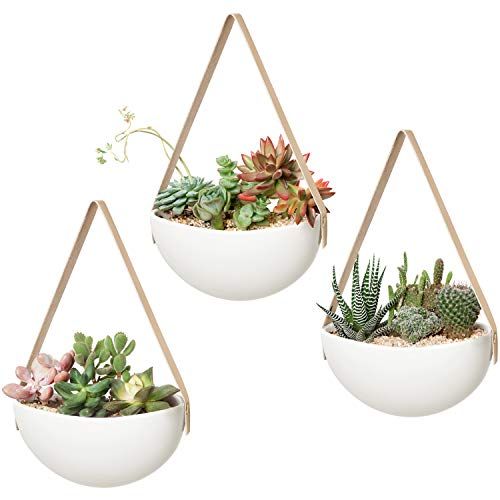 Mkono Ceramic Hanging Planter Wall Planter Set of 3 Modern Flower Plant Pots for Succulent Herb Air Plant Live or Faux Plants Home Office Decor Idea (Plant Not Included), White