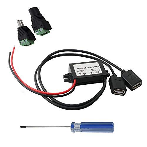 RUNCCI Convertisseur DC étanche DC 12V à DC 5V Adaptateur de Double USB convertisseur