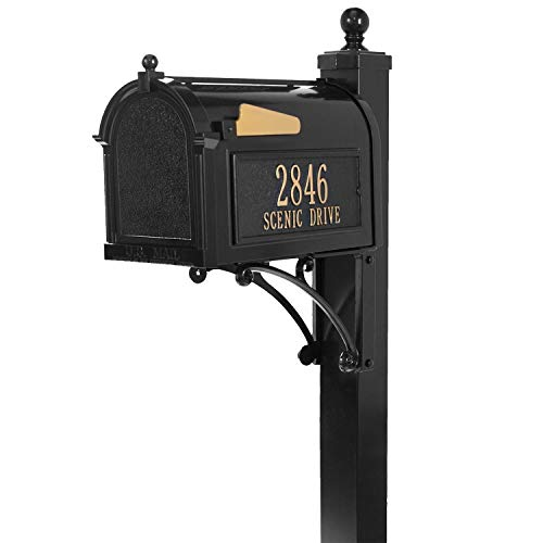 Whitehall Deluxe Custom Capitol Mailbox - Sand Cast Aluminum Side Mount Mail Box with Post - Black Personalized in Goldtone