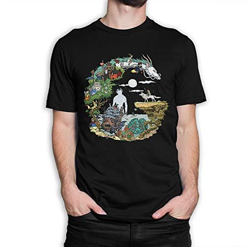 Studio Ghibli Art T-Shirt, Spirited Away Princess Mononoke Tee, Men's Black XL