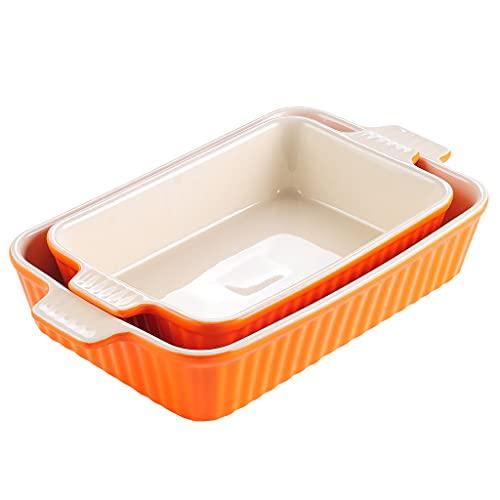 SHYPT Sistema de plato de hornear oval de 2 (12'/13.3') Horno a mesa for hornear for hornear con asa de cerámica Ideal for lasaña/pastel/cazuela/tapas (Color : A)
