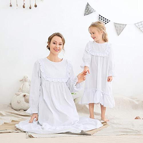 Familien Passender Pyjama - Mode Frühling Und Sommer Kinder Baumwolle Rüschen Nachthemd, Kinder Mutter Haus Kleidung, Prinzessin Weichen Pyjamas, Weiß Langärmelig Lässig Weiblich Und Weiblich,