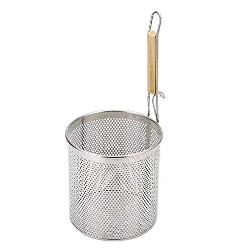 Cucchiaio Filtro Zuppa di Pasta Pentola Calda BBQ in Acciaio Inox Cestello per Cottura A Fondo Cottura - 2 Dimensioni per Alimenti Cottura A Olio Gras - Argento, 14 Centimetri