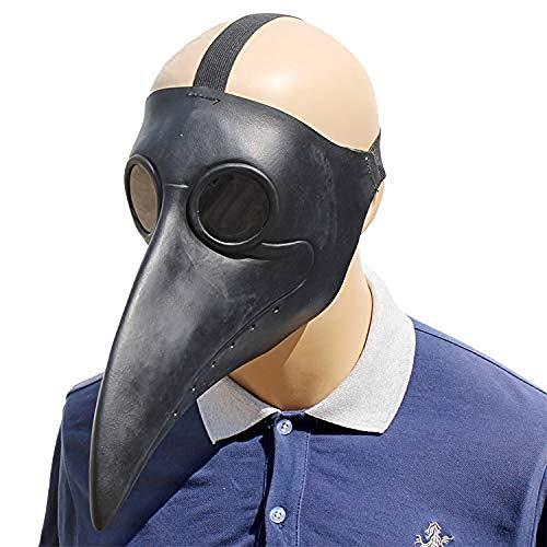 LZRDZSWCW Lustig The Doctor Animal Party Maske, Halloween Black Beak Maske, Funny Horror Latex Vollgesichtsmaske, Neuheit Maskerade Kostüm Party Funny Props Karnevalsmaske, gruselig