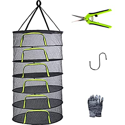 YOUSHENGER 6 Layer 2ft Herb Drying Rack Net Black Mesh Hanging Weed Drying Rack net with Green Zipper Solar drying rack with Pruning scissors for Hydroponic Plant Herb and Bud