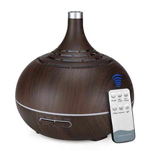 BWZRBB Ultrasone luchtbevochtiger met afstandsbediening, 400 ml, aroma, etherische olie, diffuser met houtnerf, 7 kleurwisselende lampjes voor kantoor