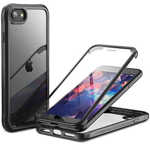 YOUMAKER Janus Designed for iPhone SE 2020 Case/iPhone 8 Case/iPhone 7 Case with Built-in Tempered Glass Screen Protector & Anti-Scratch Clear Back Full Body Slim Fit Protective Case 4.7 Inch