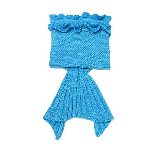 NIDAYE Regalos para niñas, manta de cola de sirena para niños, manta de sirena, sirena de ganchillo, manta de sirena hecha a mano, el mejor regalo de cumpleaños para niños (azul)