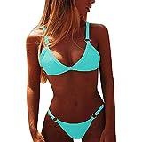 Yutdeng 2020 Sexy Costume da Bagno da Donna Push up Estate Mare Due Pezzi Bikini Tinta Unita Imbottito con Reggiseno Bikini con Perizoma Brasiliano Triangolo