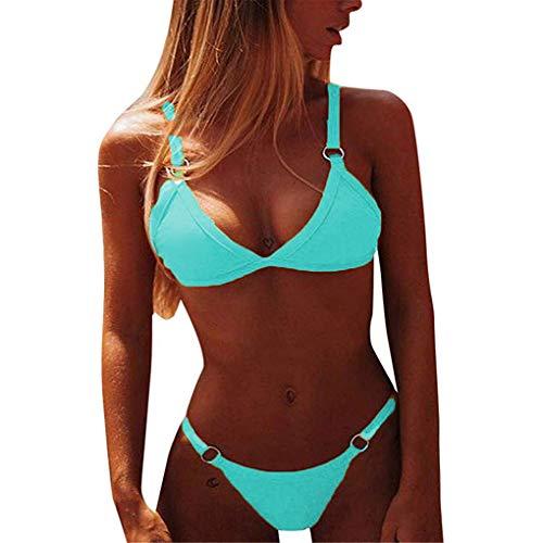 Yutdeng Costume da Bagno da Donna Sexy Push up Bikini 2 Pezzi Tinta Unita Imbottito con Reggiseno Triangolo Bikini Top e Panty Brasiliano Bikini Estate